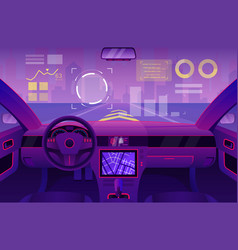 Futuristic car inside interior vector