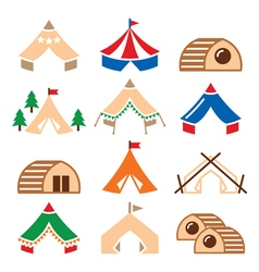 Glamping luxurious camping tents and bambu houses vector