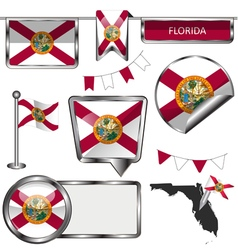Glossy icons with Floridian flag vector image