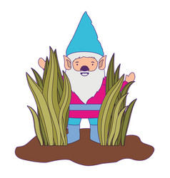 gnome coming out of the bushes with purple contour vector image