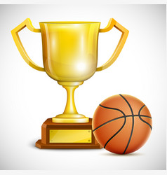 Golden Trophy Cup With Basketball vector image