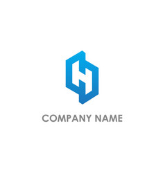 h initial company logo vector image