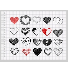 hand-drawn hearts vector image
