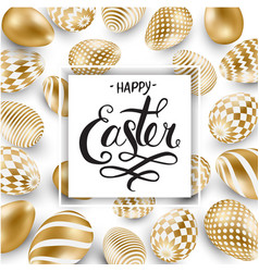 happy easter lettering background with realistic vector image