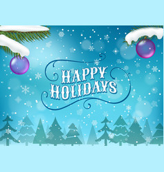 happy winter holidays greeting card vector image