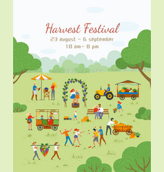 Harvest festival poster with dates and people vector