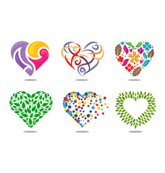 heart color collection vector image