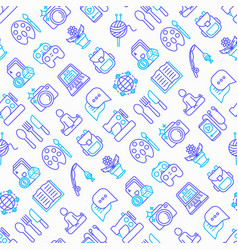 hobseamless pattern with thin line icons vector image