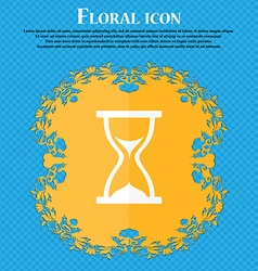 hourglass icon Floral flat design on a blue vector image