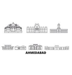 India ahmedabad line travel skyline set vector