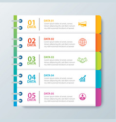 Infographics tab in horizontal paper index with 5 vector