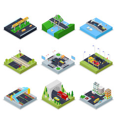 Isometric urban infrastructure with roads vector