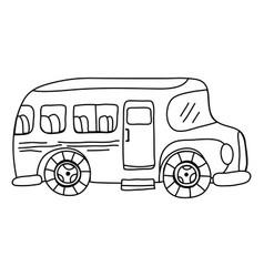 line vehicle school bus education transportation vector image