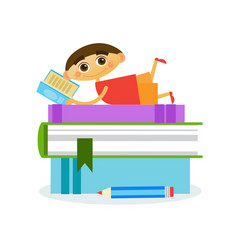 little boy lying on stack of books reading cute vector image