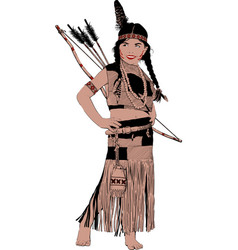 little indian girl vector image