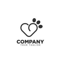 Love pet logo design template vector