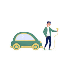 man standing next green electric car eco friendly vector image