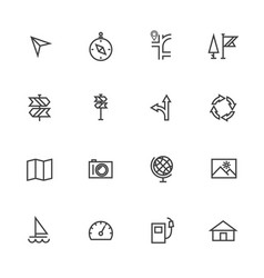 Map and navigation line icons set vector