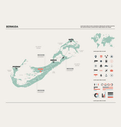 Map bermuda high detailed country map vector