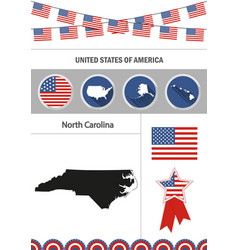 Map of north carolina set of flat design icons vector