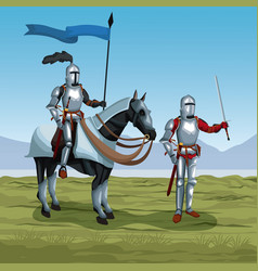 Medieval warriors with horse on battlefield vector