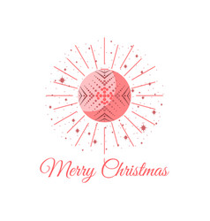 merry christmas ball with snowflake pattern pop vector image