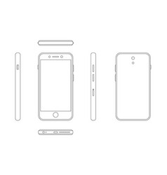 modern smartphone outline view from four sides vector image