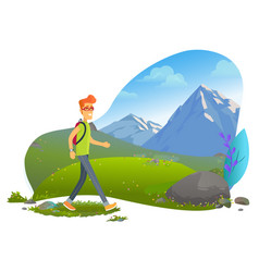 mountain tourism hiker with backpack rock vector image