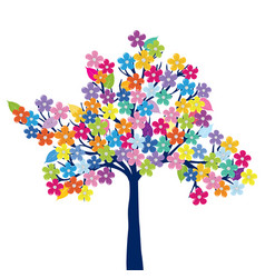 Multicolored tree on white background vector