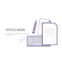 office work business concept web banner with copy vector image