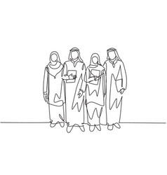 One continuous line drawing young happy muslim vector