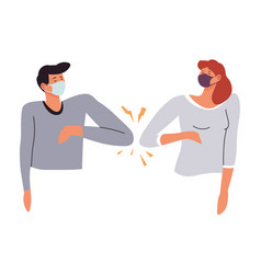 People avoiding contact greeting bumping elbows vector