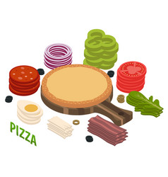 pizza isometric composition vector image