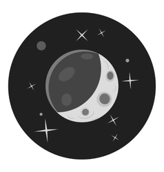 Planet in space icon gray monochrome style vector image