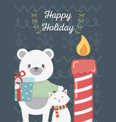 polar bear and cat with gift candle celebration vector image