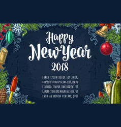 Poster horizontal happy new year calligraphy vector