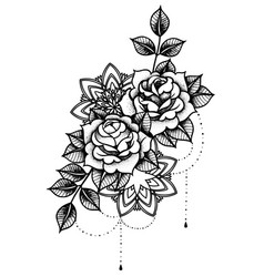 Rose tattoo mystic symbol flower with string of vector