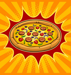 Round pizza pop art vector