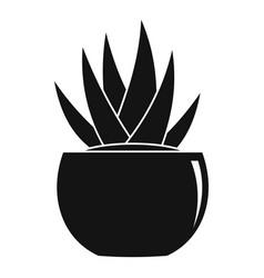 round pot aloe icon simple style vector image