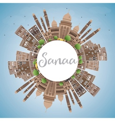 Sanaa Yemen Skyline with Brown Buildings vector