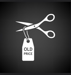 scissors cut old price tag icon vector image