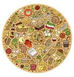 Set italian food cartoon doodle objects vector