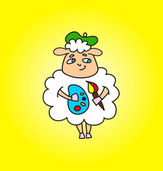 Sheep painter with paints in hands and brush vector