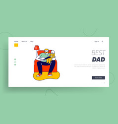 single father reading book to son website landing vector image