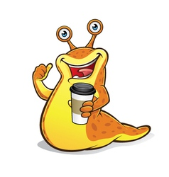 slug with a cup coffee vector image