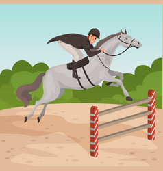 Smiling man jockey on gray horse jumping over vector