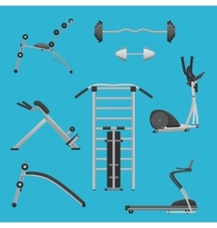 Sport fitness gym exercise equipment machines set vector