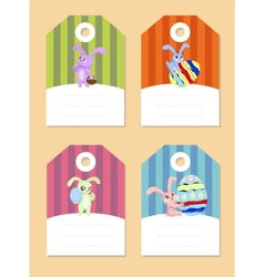 stickers with rabbits vector image
