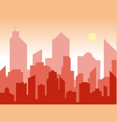 sunrise and modern silhouette city in flat art vector image