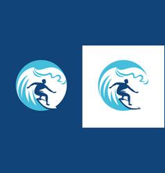 surfing emblem surf symbol vector image